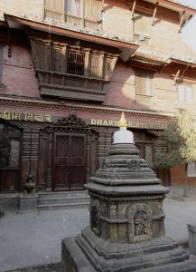 The intricately carved entrance to the Dharmakirti Vihar in Kathmandu