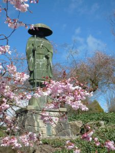 This statue of Shinran, founder of the Jodo Shinshu tradition, stands across the street from Seattle Betsuin