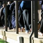 People doing retreat at Tahoma Monastery use traditional Japanese practice forms, such as this walking meditation around the zendo deck