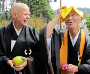 Harada Roshi joking with Daichi Zenni - the co-abbot of Tacoma one Drop