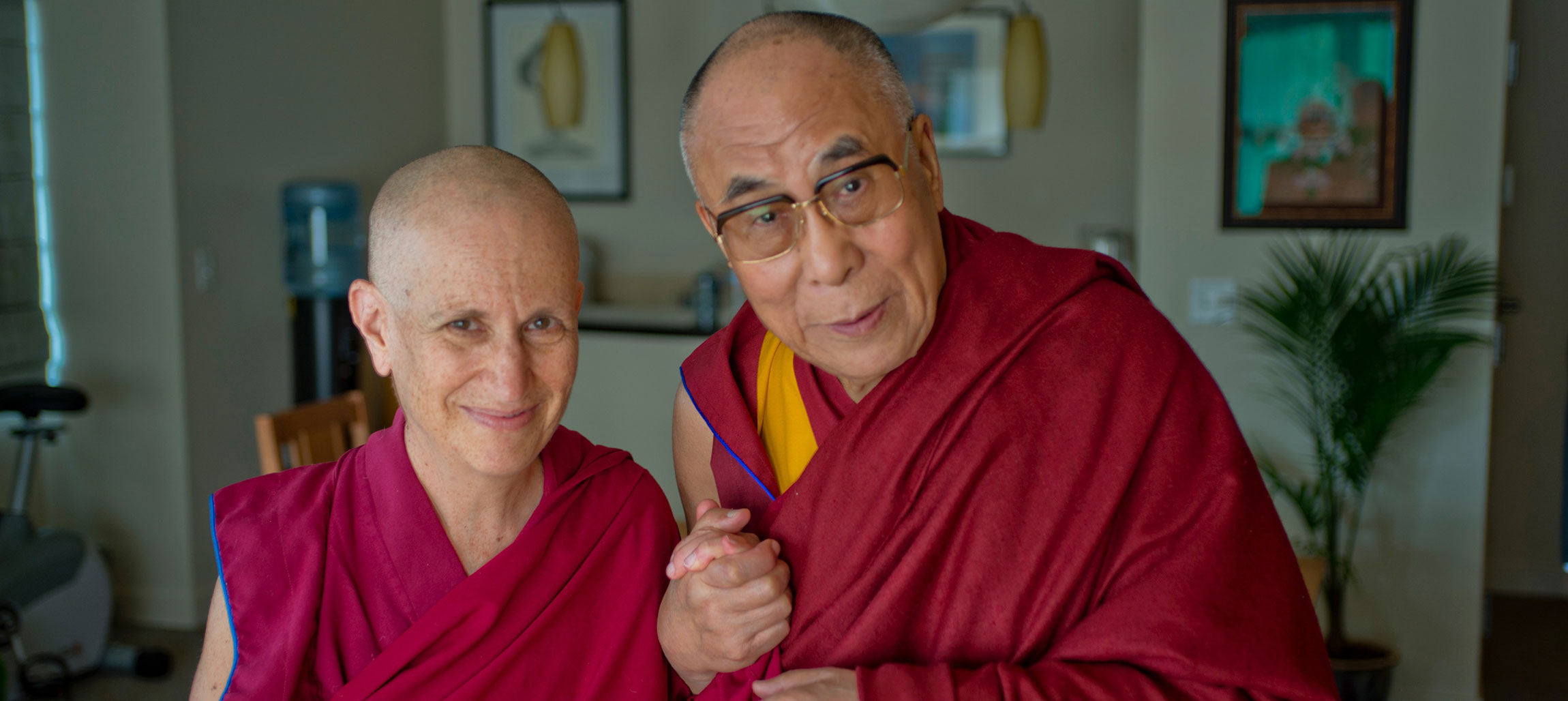 Ven. Thubten Chodron with His Holiness the Dalai Lama
