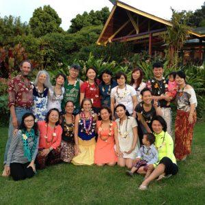 The Leveys' Taiwan sangha visits the Leveys' home in Hawaii with local Hula teacher Lea Lawrence