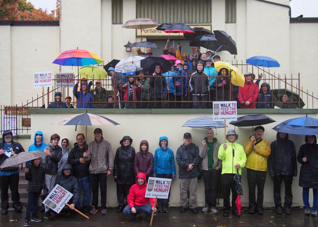 A group photo in front of Portland Friends of the Dharma, before the Portland walk started.