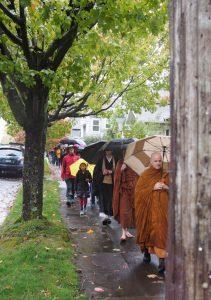 Walking in the rain in Seattle.