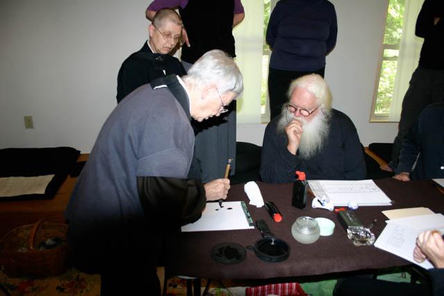 Eido Frances Carney teaching Japanese calligraphy. Photos by: Eido Frances Carney