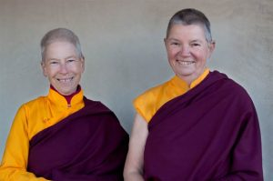 Resident lamas Yeshe Parke and Pema Clark are adjusting their roles as they age, and as the sangha steps forward