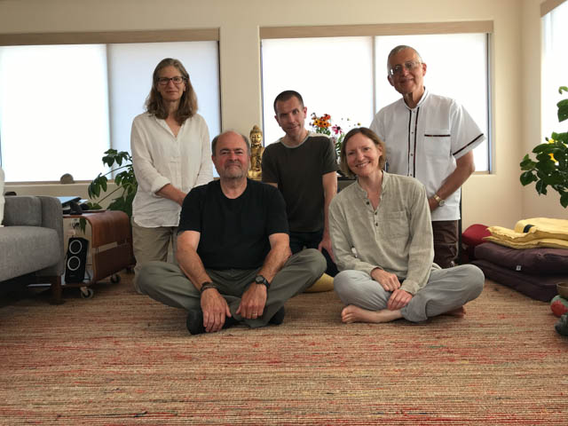 Some members of Seattle Friends of the Dhamma: left to right (back row) Janet Gryczan, Dave Tatro, Len Bordeaux, (front) Jeff Carl, Carson Furry