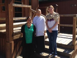 Resident Steward Dilani Hipola (Sobhana), Sister Mon and Carson Furry (Sujata) at Birken