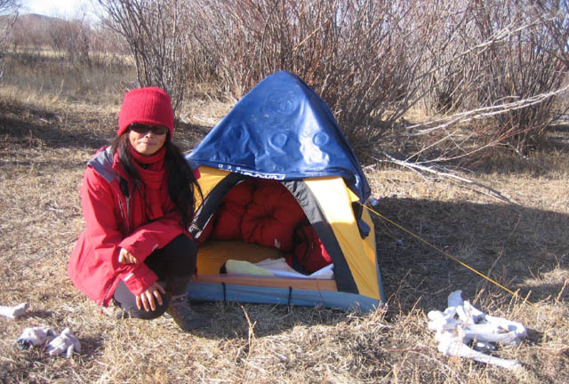Chöying Khandro during her wandering retreat in the Mongolian wilderness in 2011