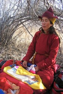 Khandro practicing during her 2011 wandering retreat in the Mongolian wilderness