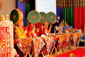 Traditional Tibetan Buddhist drums lead the chanting. (left to right, Lama Erik Jung, Lama Kunzang Bateson, Carrie Ure, Marc Baldwin)
