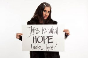 Recovery Café member April shares her expression of hope during the café's annual Portrait Day