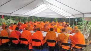 The monks ate together in a large tent, always before noon