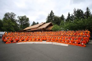 The radiant saffron robes of 350 Thai monks from around the United States