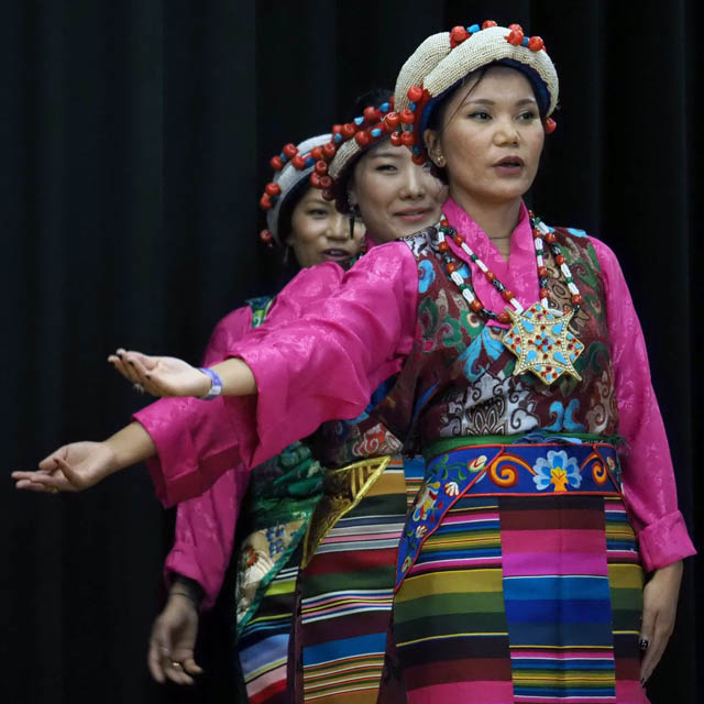 Women from the Tibetan Association of Washington performing a Tibetan dance