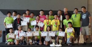 Tibetan children from Portland and Seattle with their medals and recognition certificates for their participation in basketball and soccer