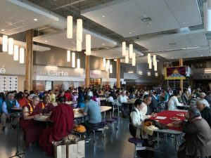 Tibetans gathered in the main hall area at North Creek High School, north of Seattle