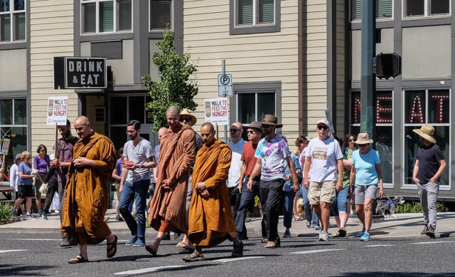 Monks from the Pacific Hermitage led the walkers on the 2-mile route along Hawthorne Avenue in southeast Portland.