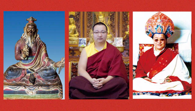 The three Dudjoms (left to right): Dudjom Lingpa, HH Dudjom Rinpoche Sangye Pema Zhepa, and HH Dudjom Rinpoche, Jigdral Yeshe Dorje.