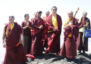 HH Dudjom Rinpoche and attending lamas on the beach in Yachats, Oregon