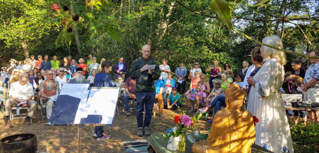 Puget Sound Zen Center Abbot Koshin Cain offers a traditional Zen chant to dedicate the land