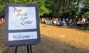 Approximately 70 people came to witness the dedication of the Puget Sound Zen Center's new land