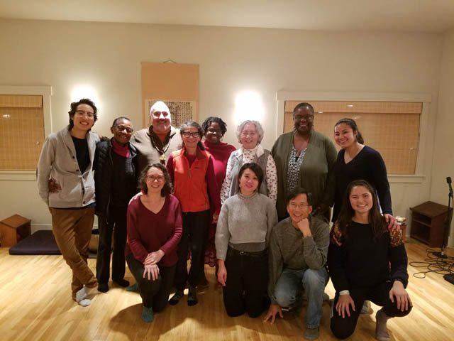 Stewart, back center, at a people of color meditation at Mindfulness Community of Puget Sound (MCPS)
