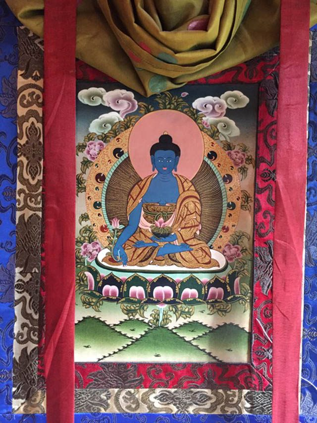 A Tibetan Medicine Buddha thanka at Bellevue Dharma