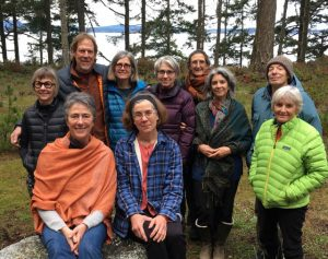 Lopez Island sangha, front row left to right: Marney, Suzanne. Back row left to right: Martha, Jeff, Dianne, Karen, Julienne, Wendy, Harold, Ruthie
