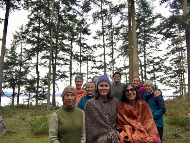 Lopez Island sangha members, front row, left to right: Peggy, Jan, Jeanna. Back row: Marney, Ruthie, Harold, Paul, Susan, Julie