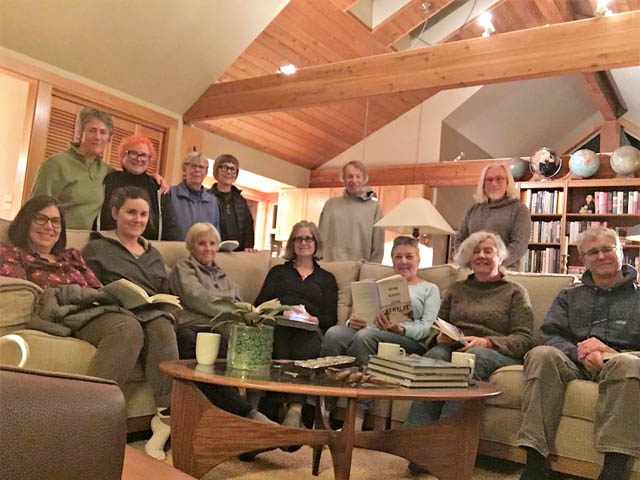 The Lopez Book sangha, seated: Jeanna, Jan, Ruthie, Dianne, Anne, Pat, Mike. Standing: Marney, Sue, Julie, Martha, Harold, Bryan