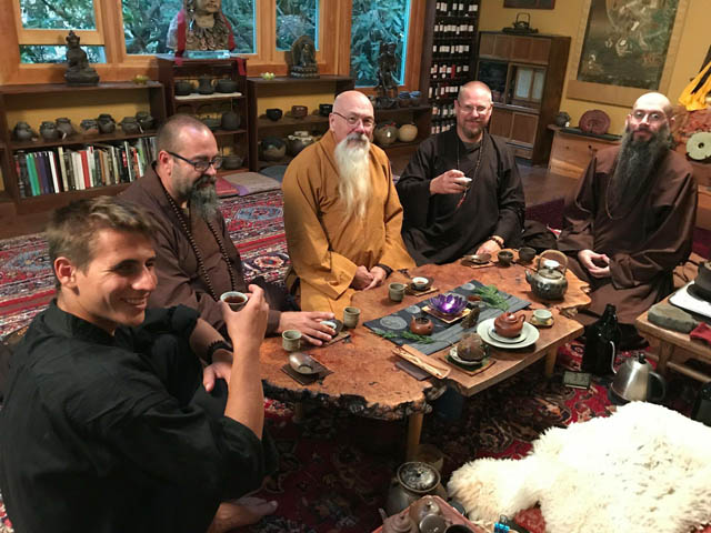 MILIFE photo 1 – Richard Miles sipping well-aged pu'er tea with friends, in Portland, Oregon.  Left to right: Jack Pockley, Richard Fagan, Miles, Eric Reed and Jeff Miles.