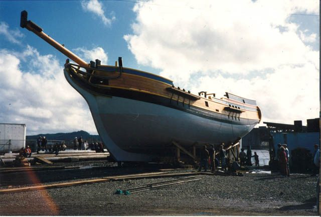 The 1989 launch of the Lady Washington, in Aberdeen, Washington