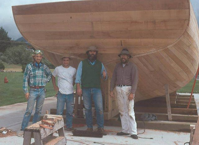 Shipmaster Miles (far right) and crew, in 1990 building the schooner Tillamook, also in Aberdeen