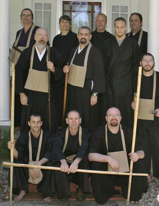 Founding members of the Order of the Boundless Way, practicing Zen and martial arts together. People include Miles (second row, left); future wife Kathy (top row, second from left); and son Jeff Miles (far right side)