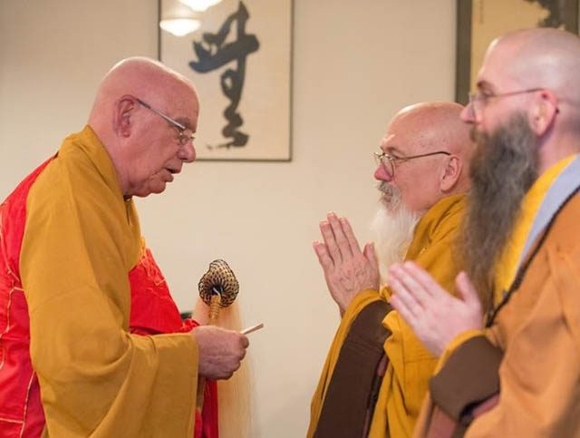 Miles and son Jeff receive ordination in Vietnamese lineage at the  Desert Zen Center, in Lucerne Valley, California, in 2016