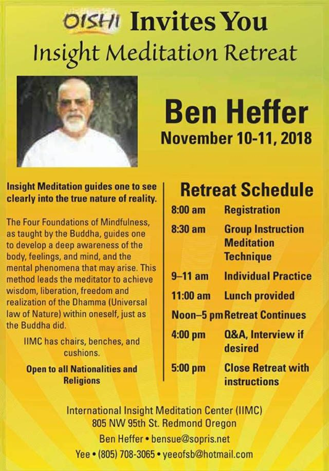 A flyer announcing a retreat led by Ben Heffer