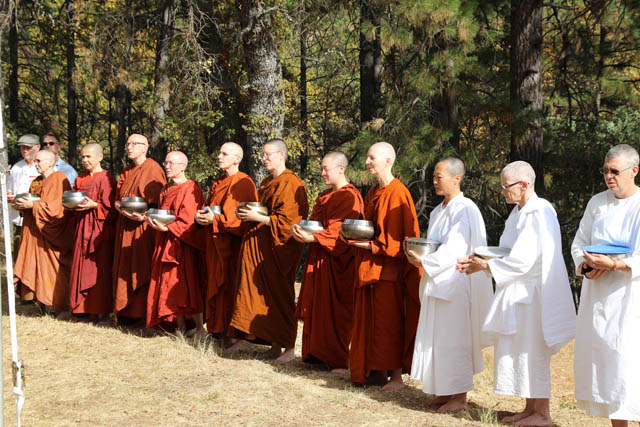 Eleven monastics -- fully ordained bhikkhunis, novice samaneras, and trial-year anagarikas in white robes -- stand in line and give thanks for the food they have been offered on kathina day