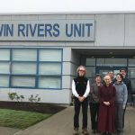 Volunteers at Twin Rivers Unit in October. 2018.  From left to right: Jordan Van Voast, Jean Berolzheimer, Venerable Thubten Chodron, Jack Buce, Colette Janning, Eric Schmidt.