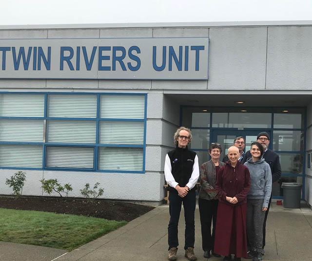 Volunteers at Twin Rivers Unit in October. 2018. From left to right: Jordan Van Voast, Jean Berolzheimer, Venerable Thubten Chodron, Jack Buce, Colette Janning, Eric Schmidt.