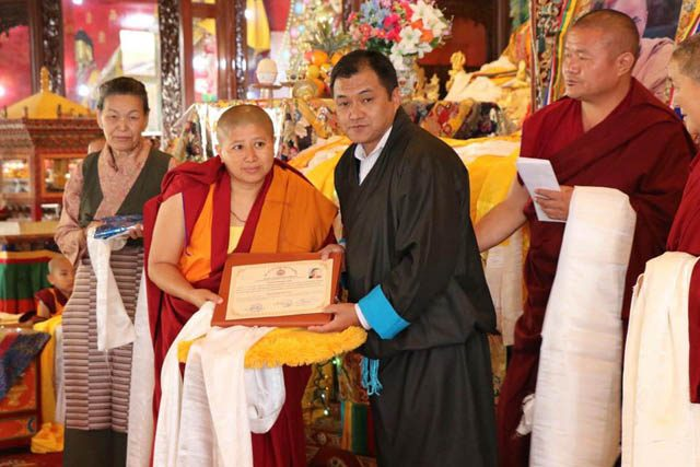 One of the 10 geshemas receives her degree at a formal graduation ceremony on Nov. 5, 2018, at Kopan Nunnery in Nepal