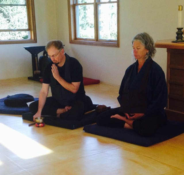 Magie bowing during formal Zen practice, with visiting teacher Kathie Fischer