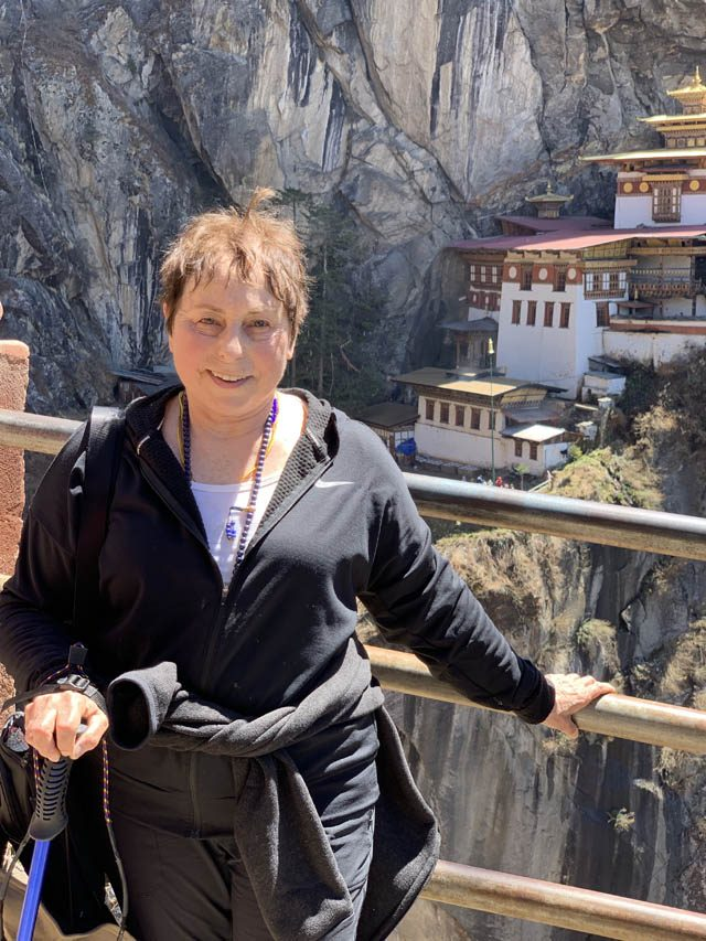 Jacqueline Mandell, author, after climbing to Tiger's Nest Monastery