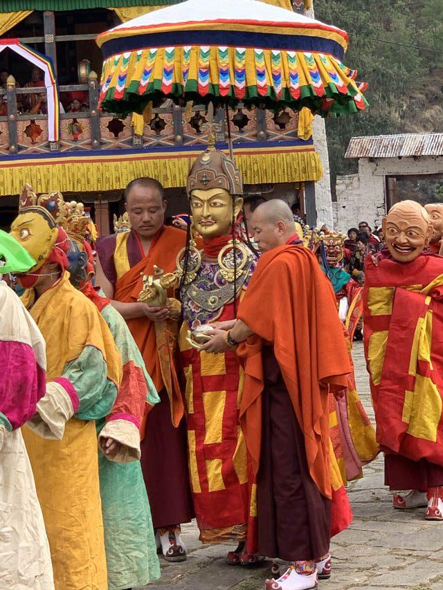Bhutanese people performing a Padmasambhava dance, in Pharo, Bhutan
