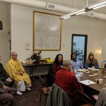 NWDA community meeting hosted by the Seattle Koyasan Buddhist Temple, February 6, 2019. From left: Riaz Khan, Washin, Imanaka Taijo Sensei, Sharyn Skeeter, George Draffan, John Guy, Susan Greenfield, Lama Rangdrol, Timothy O'Brien