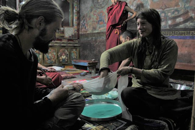 Also at Shey Monastery, friend Magnus Lieber and I offered to help sift the sand for the mandala, becoming part of a quiet effort