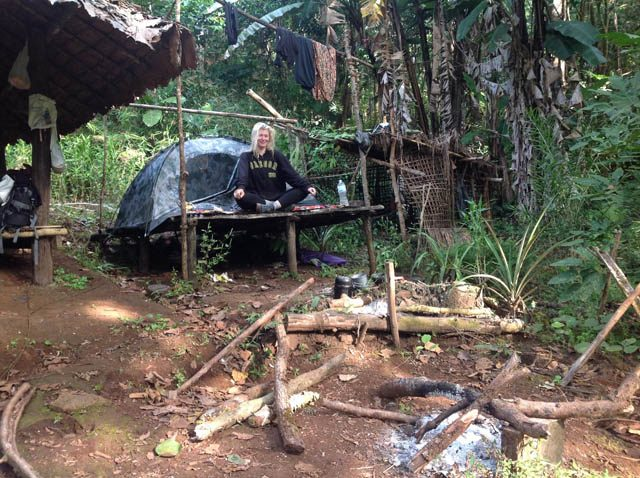 Campsites varied. Here we pitched our tent at the site of an abandoned jungle hut in the depths of nature, somewhere in eastern Thailand
