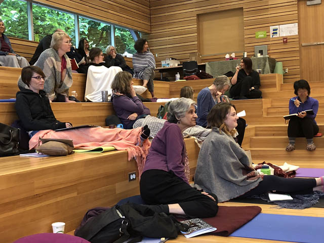 Participants attending the first MBSR facilitator training in Western Canada at the University of Fraser Valley in 2018, in the Indigenous Gathering Place.