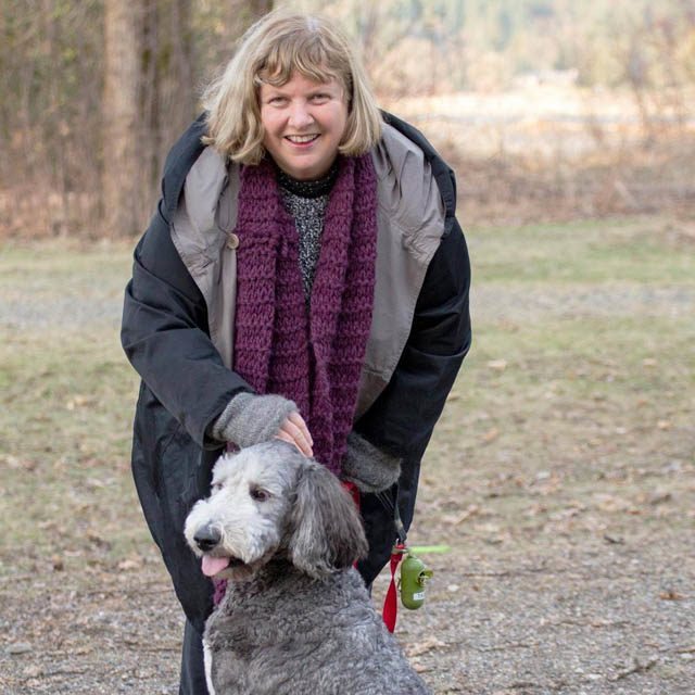 Seonaigh MacPherson, Ph.D., with her dog Tashi in Chilliwack, B.C., where she lives