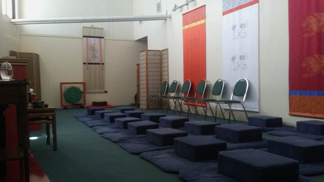 Inside the shrine room, we include chairs for the comfort of meditators not able to use the floor cushions